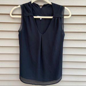 Naked Zebra black sleeveless v neck blouse top